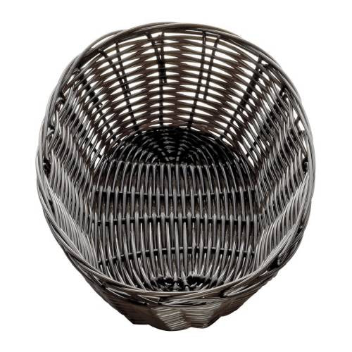 Bread Basket Woven Plastic Dark Brown Oval - 230 X 167Mm