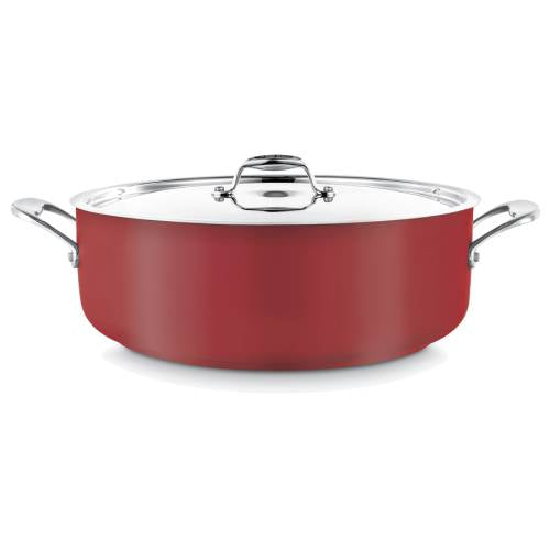 Pot (Red )Low Casserole 8.9L W/Lid
