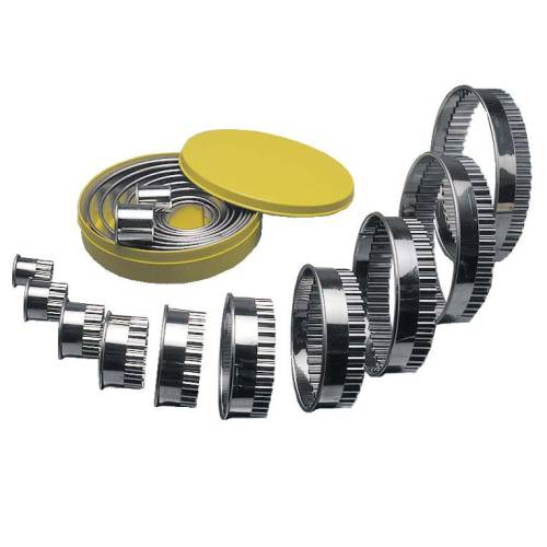 Round Cutter Set S/Steel- Fluted 10 Piece