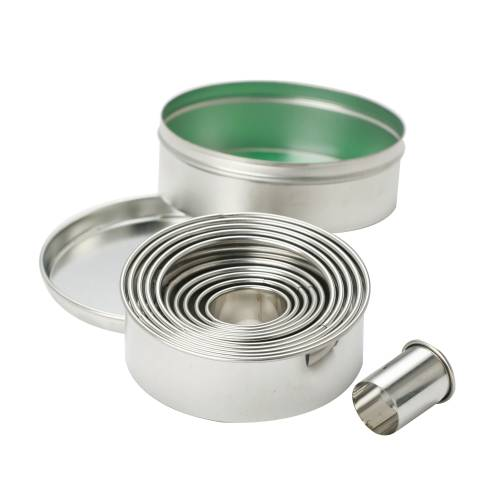 Round Cutter Set Tinned Plain 10 Piece