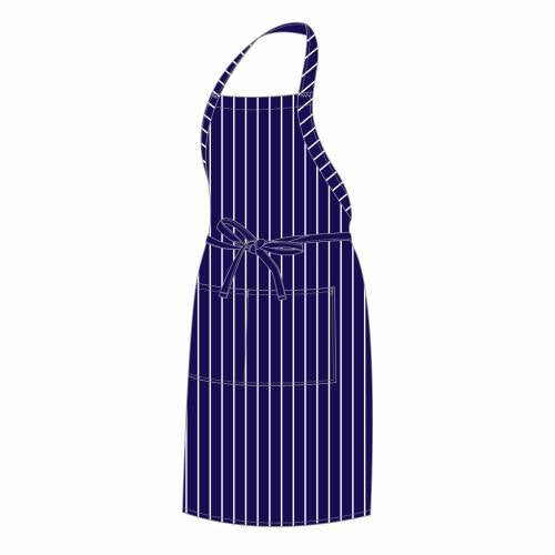 Chefs Uniform Full Bib Apron Butchers (Blue) Stripe