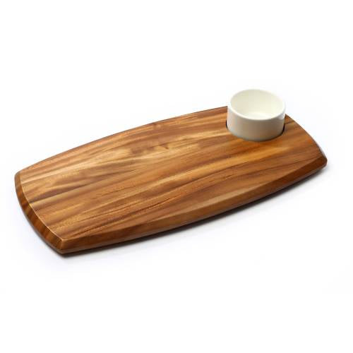 Wooden Serving Board With Dip Bowl (70Ml Bowl) 225 X 362 X 20Mm