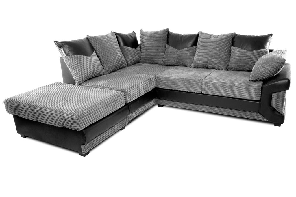 Dino Left Hand Corner Sofa Black/Grey