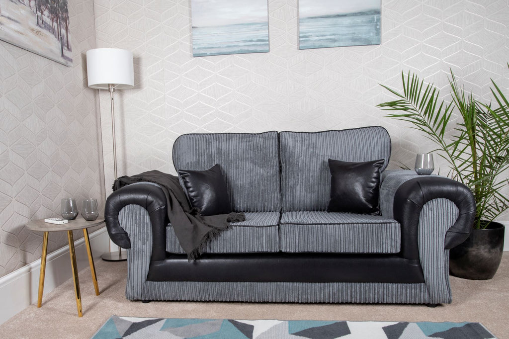 Tangent 2 Seater Sofa Black/Grey Cord