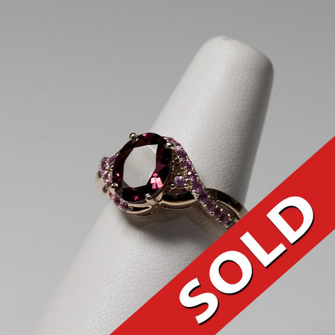 10KT Garnet and Pink Sapphire Ring