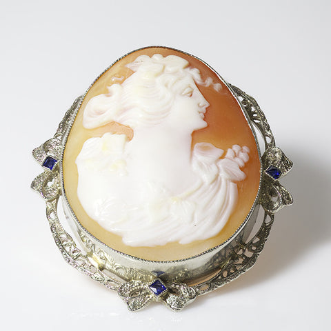 14kt Art Deco style Cameo with Sapphires
