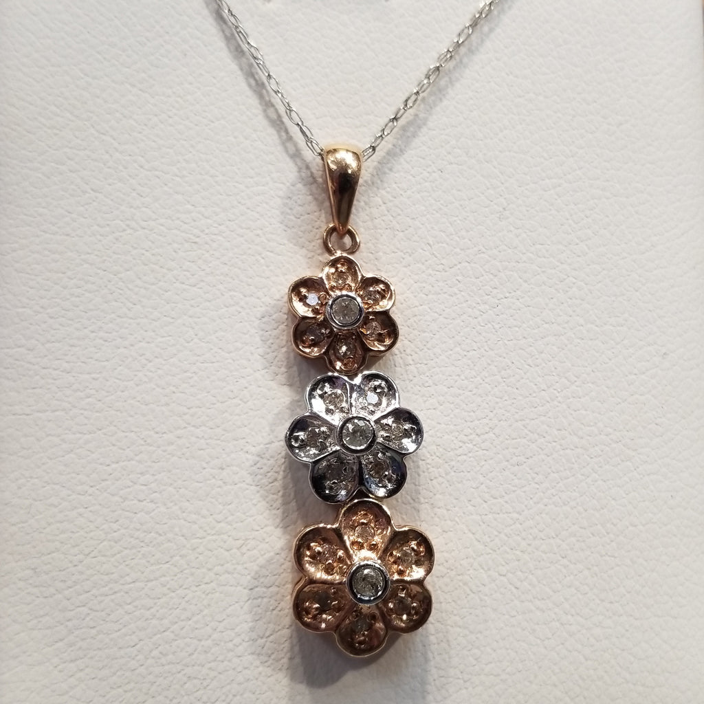 10k Floral Pendant Diamond, Yellow, White and Rose Gold