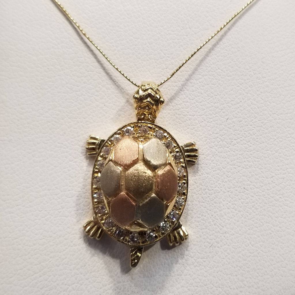 14k Diamond Turtle Pendant