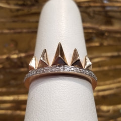 14k Rose Gold Ring with Attached Diamond Band