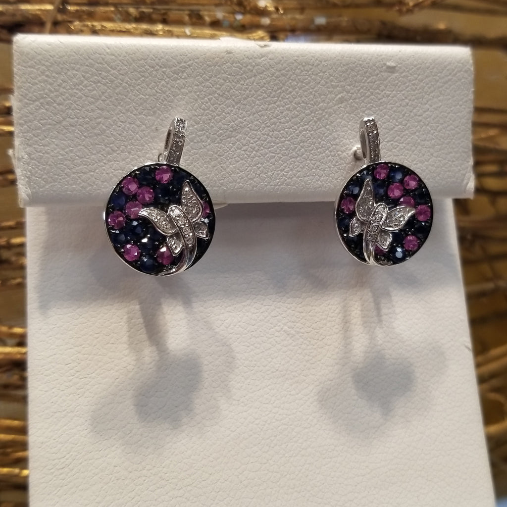 14k White Gold With Black and Pink Sapphires
