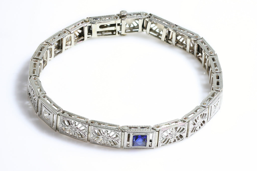 14KT white gold Art Deco Bracelet