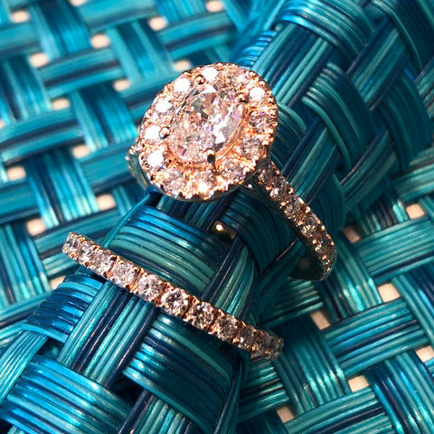 14kt Rose Gold Engagement Ring Wedding Set