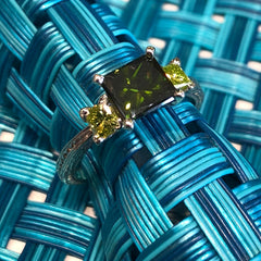 14kt White 1.25 Green Diamond Center with two .50 TW Yellow - Green PC Side Diamonds
