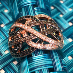 14kt Rose Gold Ring With 1.50ct White, 1.00 ct Champaign & 1.50ct Black Brilliant Cut Diamonds
