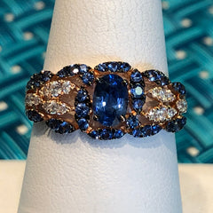 14kt Rose Gold 1.1ct Sapphire .20 rd BC Diamonds