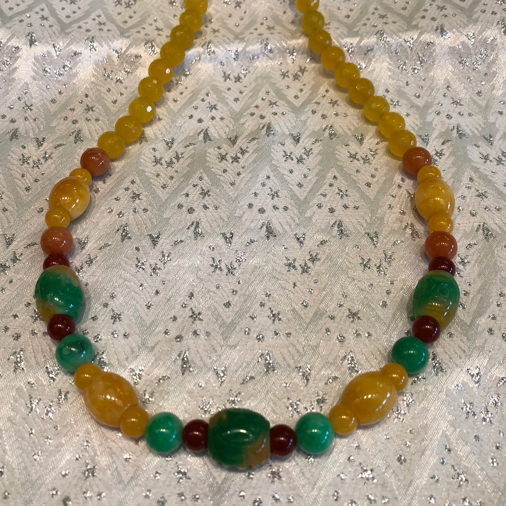 Faceted Gold & Multifaceted Yellow - Green Beads