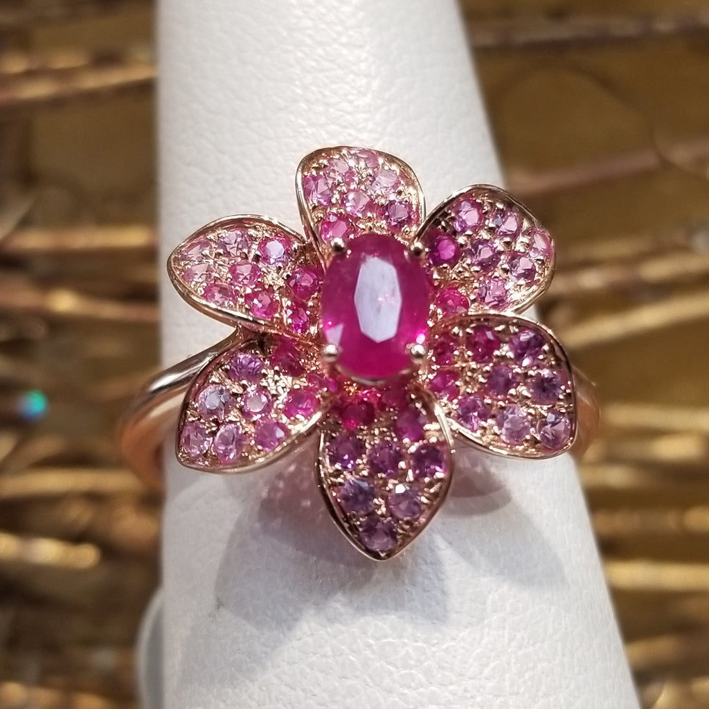 14k Rose Gold Flower Ring Oval Ruby Center Stone With Pink Sapphires in Pedals