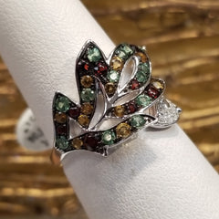 14k White Gold Ring with Diamonds and Semi Precious Stones