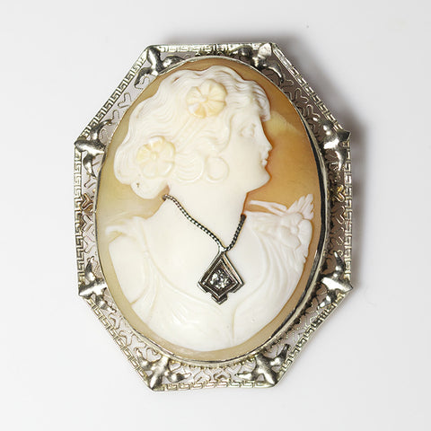 14kt Art Deco Cameo w. Diamond