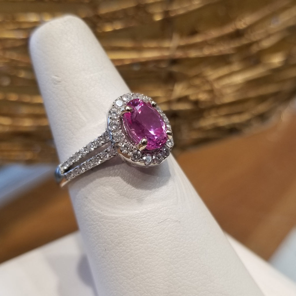 18k White Gold Pink Sapphire Oval with 60ct Diamonds