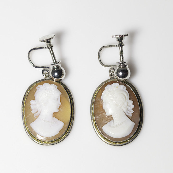 Sterling and 14kt Cameo Earrings