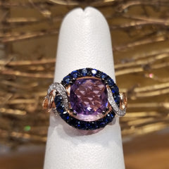 14k Rose Gold Ring Amethyst, Sapphire & Diamond