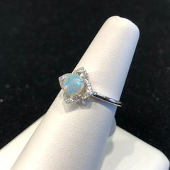 Opal Diamond WG 14kt ladies ring