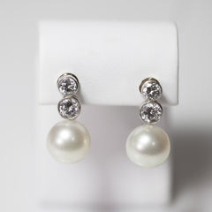 14 Kt White Gold Screwback Diamond & Pearl Antique Earrings