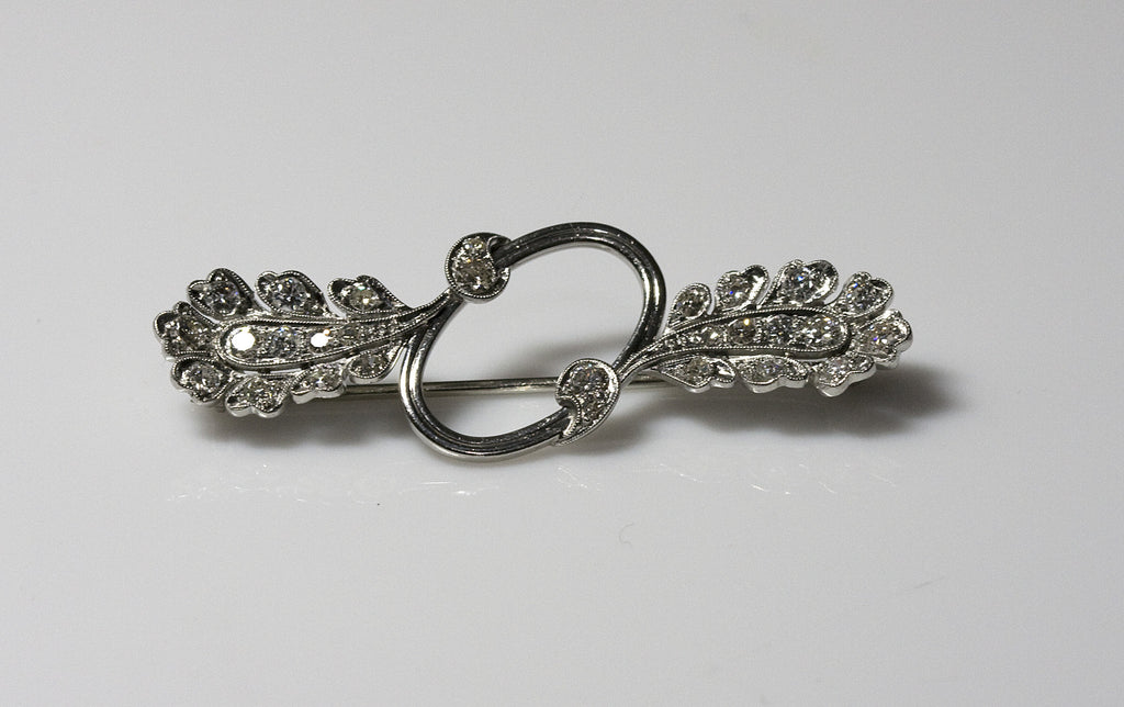 Antique Feather Style Platinum and Diamond Brooch