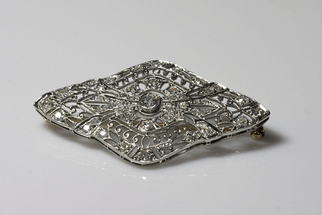 Art Deco Antique Platinum and Diamond Brooch