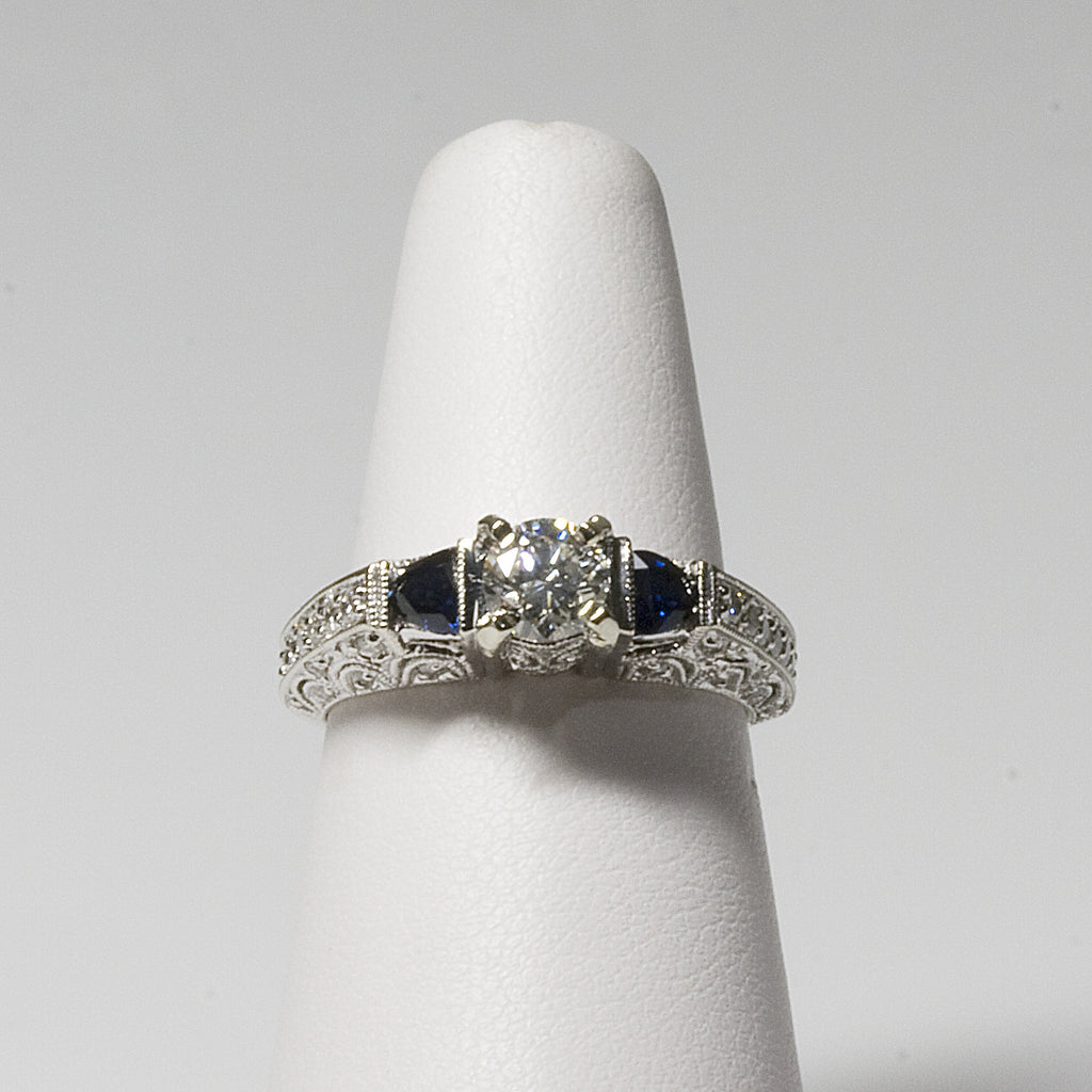 14 KT White Gold Diamond and Sapphire ring