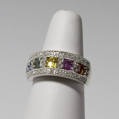 10KT White Gold Multicolored Sapphire and Diamond RIng