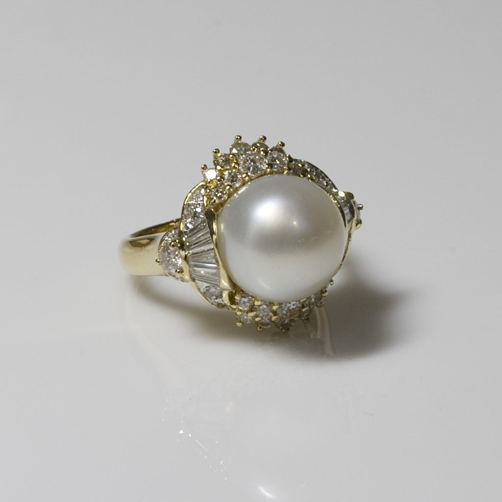18KT Yellow Gold Tahitian White Pearl Ring