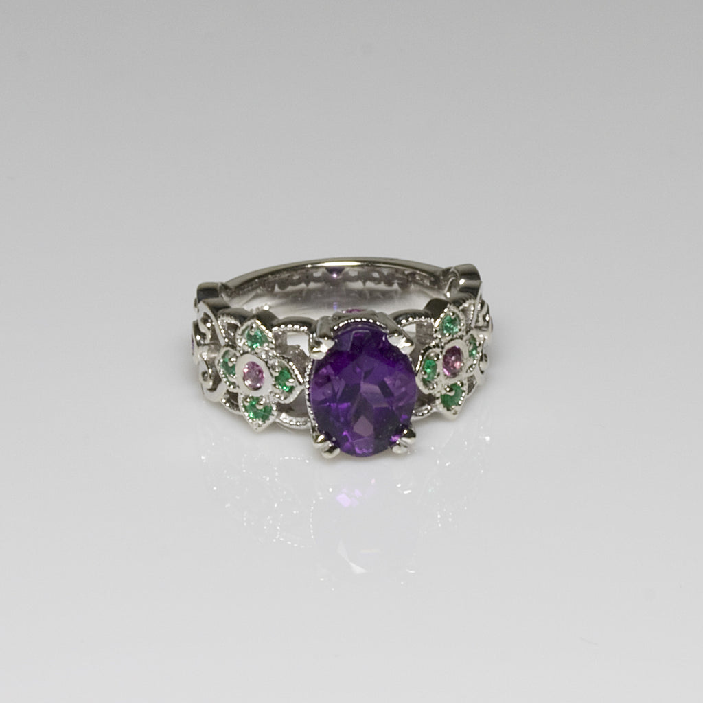 14KT White Gold Amethyst, Sapphire & Emerald Ring