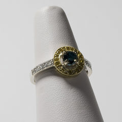 18kt White and Yellow Gold Ring with .40ct Ctr Blue Diamond