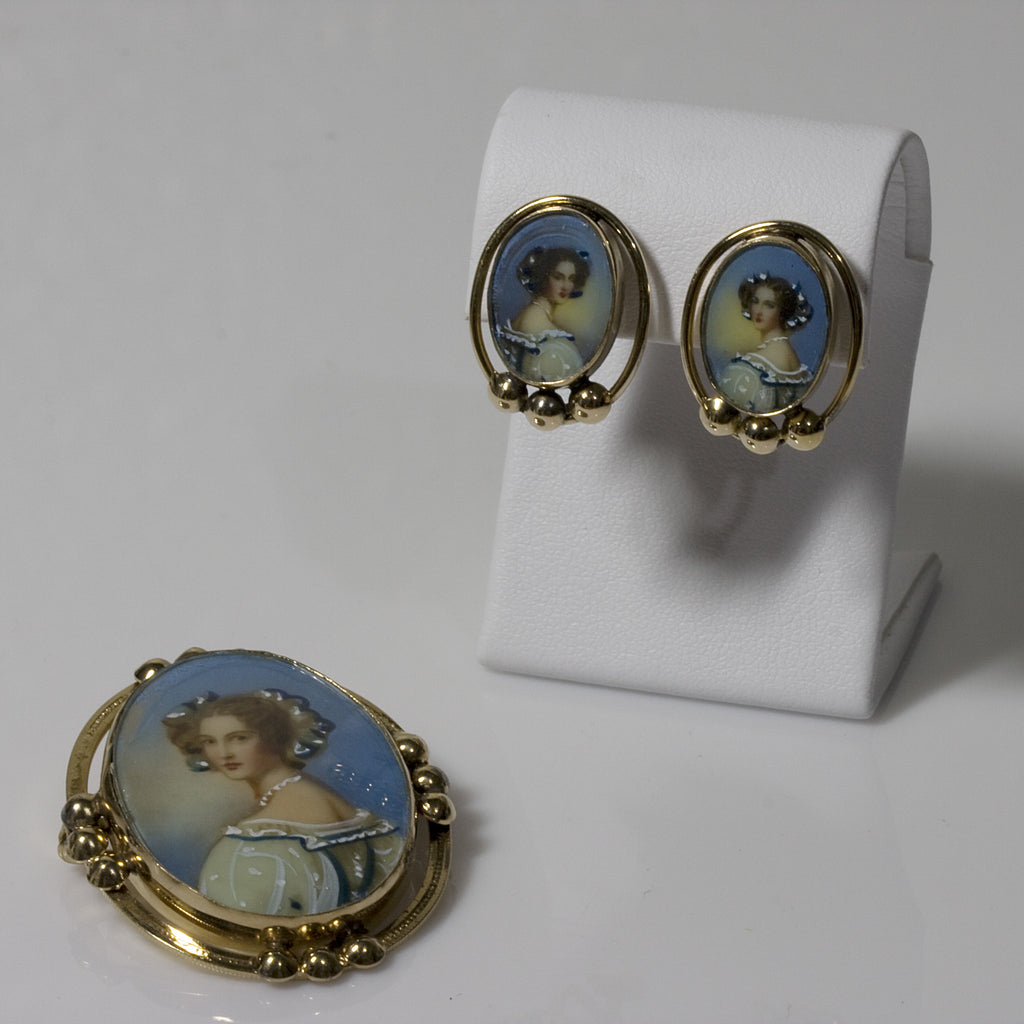 Antique Earring & Brooch Painted Portrait Crystal Set
