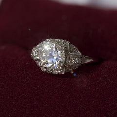 Platinum & Diamond Art Deco Bridal Ring