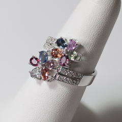 14KT White Gold Multi-Colored Sapphire & Diamonds
