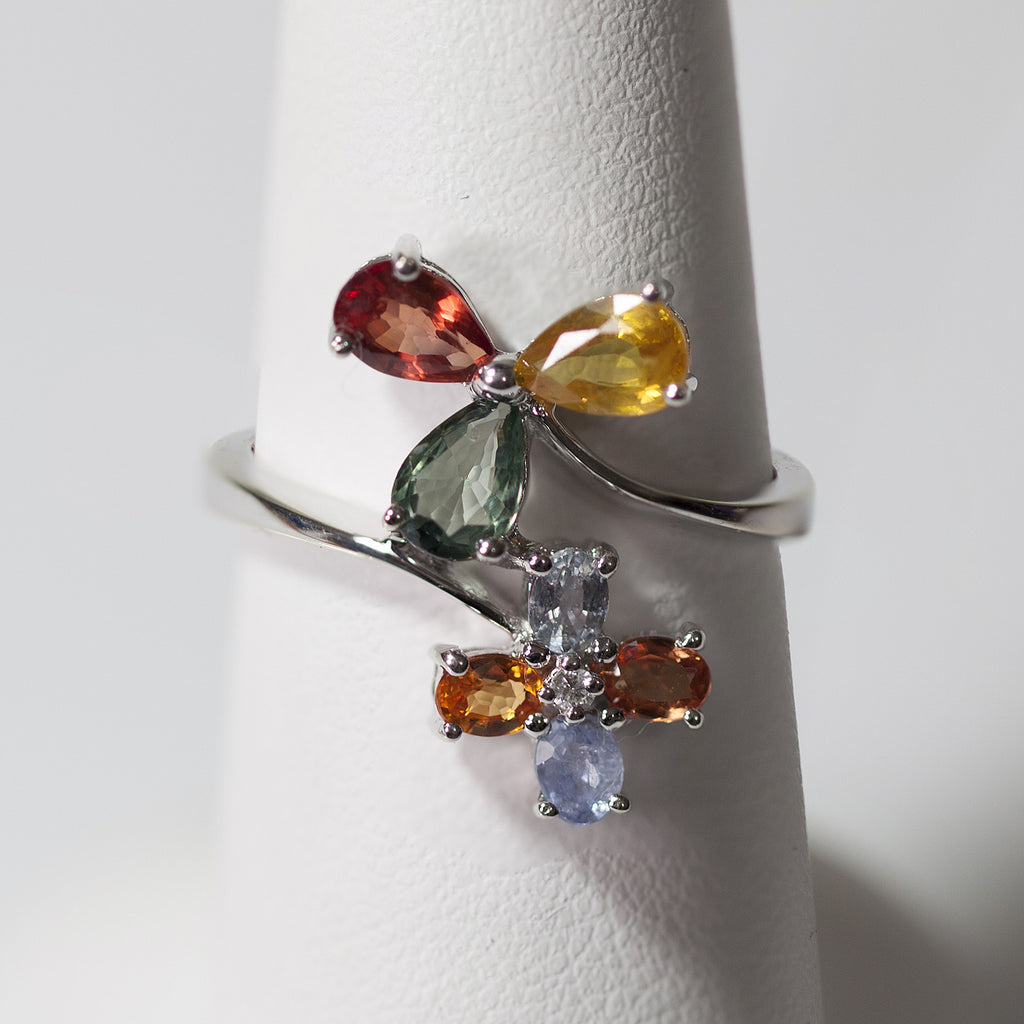 14KT White Gold Multi Colored Sapphire ring