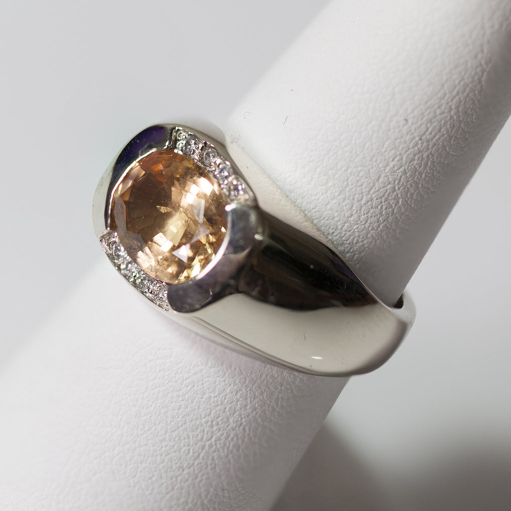 14kt White Gold w/ Imperial Topaz & Diamonds