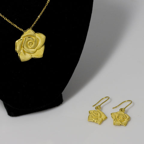 24kt Rose Gold Pendant and Earrings