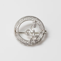 14kt White Gold & Diamond Circle Pin