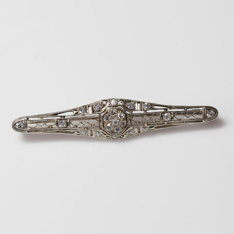 14kt White Gold with Diamonds Antique Pin