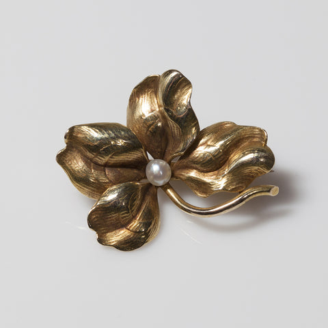14kt Pearl & Dogwood Flower Pin
