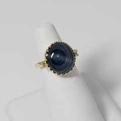 14kt yellow gold ring with Blue Star Sapphire - 13x12mm