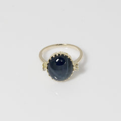 14kt yellow gold ring with heat treated Blue Star Sapphire 16x14mm