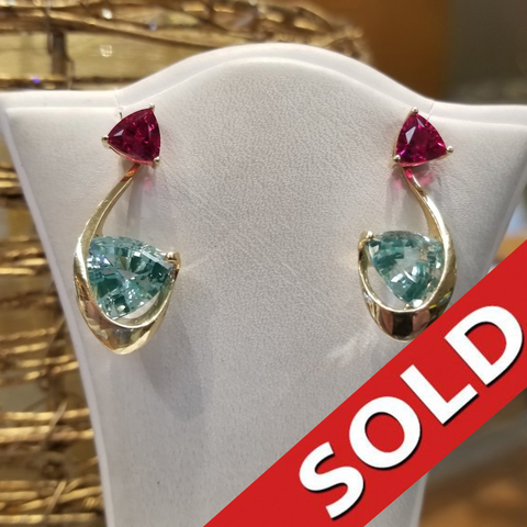 14k Yellow Gold Earrings Aquamarine & Ruby
