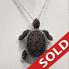 10k White Gold Turtle Pendant Black and White Diamonds