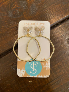 Taylor Shaye, White Butterfly Hoops