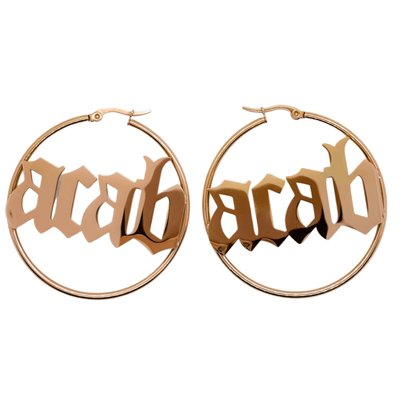 ACAB Hoop Earrings- Rose Gold - Bizaanide'ewin Beadwork & Supplies